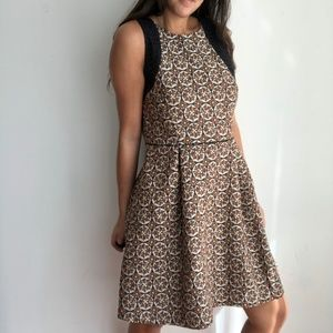 H&M brown embroidered fit and flare a line dress